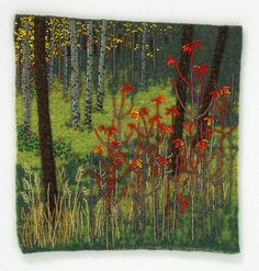 Large photo of Moose Maple by Jo Wood Textile Fiber Art, Textile Artists, Jo Wood, Crow Painting, Seed Bead Art, Cross Stitch Landscape, Beads Pictures, Textiles, Free Machine Embroidery