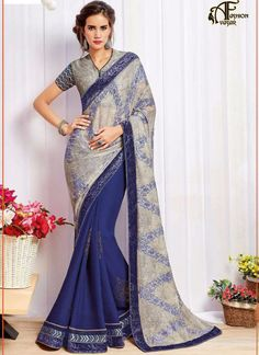 Georgette Blue Designer Saree