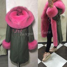 pink fur lined parka
