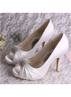410001930a5 Colors) Custom Handmade Square Toe White Wedding Shoes for Brides High  Heeled