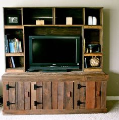 Pallet entertainment center project more wood diy plans cent . Pallet Entertainment Centers, Entertainment Center Kitchen, Entertainment Room, Pallet Shelves, Pallet Tv, Diy Pallet, Pallet Ideas, Pallet Storage, Pallet Designs