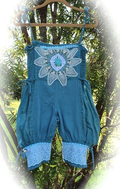 Boho Romantic Rustic Rompers Teal Gauzy Bloomers  Rustic Cowgirl Chic Mori Girl Size XS by IzzyRoo on Etsy