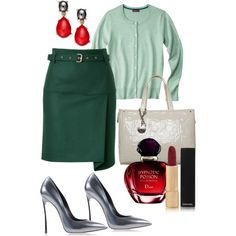 A fashion look from September 2013 featuring short-sleeve cardigan, green skirt and closed toe shoes. Browse and shop related looks. Green And Grey, Gray, Closed Toe Shoes, Short Sleeve Cardigan, Dior, Fashion Looks, Chanel, Polyvore, Shopping