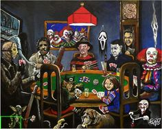 Horror Card Game from Tom Carlton Art is part of Horror icons - The Dogs playing poker, Horror cards game Online Store Powered by Storenvy Horror Movie Characters, Horror Movies, Comedy Movies, Comic Art, Dogs Playing Poker, Horror Artwork, Funny Horror, Horror Icons, Arte Horror
