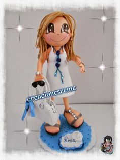 muñeca-goma-eva-muñeca-extremeña fofucha personalizada con adornos #fofuchas