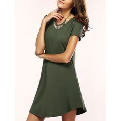 Brief Women's Solid Color Asymmetric T-Shirt Dress