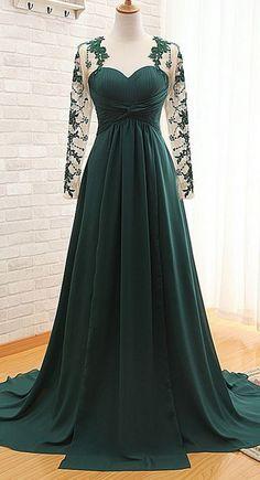 Dark Green Floor Length Lace Appliquéd Mesh Long #prom #promdress #dress #eveningdress #evening #fashion #love #shopping #art #dress #women #mermaid #SEXY #SexyGirl #PromDresses