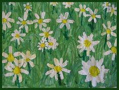 Made by Annika, 10 years old You need: white drawing sheet size tempera paint in blue, green, white, yellow and red egg boxes or saucers. Spring Art Projects, Easy Art Projects, Artists For Kids, Art For Kids, Daisy Art, Daisy Field, 2nd Grade Art, Grade 3, Drawing Sheet