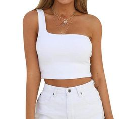 Summer One Shoulder Tops Sexy Womens Crop Tank Top Bralette Casual Shorteavengifts - Fashion City One Shoulder Shirt, One Shoulder Tops, Summer Crop Tops, Cute Crop Tops, Cropped Tops, Crop Top Outfits, Casual Outfits, Fashion Outfits, Fashion 2018