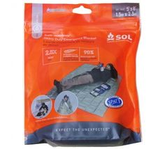 AMK-SOL® HEAVY DUTY EMERGENCY BLANKET -  Wt: 7.9 oz. - Size: (5' x 8') - Package: pocket sized - Colors: Olive Drab  Silver - Thicker, 2.5 mil compared to 1 mil blankets - Super Heatsheets® fabric is waterproof, windproof, will withstand high winds, 90% heat reflective. Versatility: Tough enough to survive multiple adventures, can be used as an emergency blanket, ground cloth, gear cover, emergency shelter, etc. Appears to have grommeted corners.