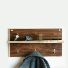 MERIWETHER, SHELF: walnut and maple wood. could be the thing we need by the door.