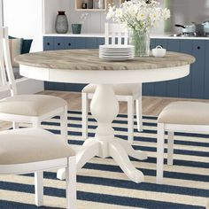 Farmhouse Round Dining Table, Round Extendable Dining Table, Circular Dining Table, White Dining Table, Dinning Room Tables, Pedestal Dining Table, Wooden Dining Tables, Solid Wood Dining Chairs, Dining Room Design