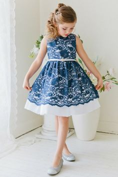 Flower Girl Dress Floral Lace and Taffeta Dress with Gem BeltNavy Blue Party Dress Special Occasion Dress Fabulous Floral Lace and Taffeta Dress with Gem Embellished Belt – Navy Blue [br] Blue Party Dress, Girls Party Dress, Baby Dress, Dress Girl, Girls Holiday Dresses, Girls Special Occasion Dresses, Lace Flower Girls, Flower Girl Dresses, Little Girl Dresses
