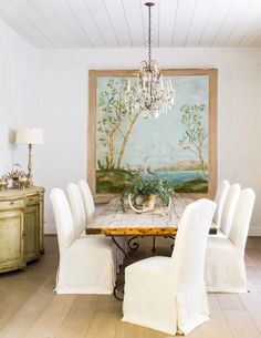 Dining table by SOUTH OF MARKET; chair fabric is LIBECO Milano Oyster; Rococo painted buffet from WATKINS CULVER ANTIQUES.