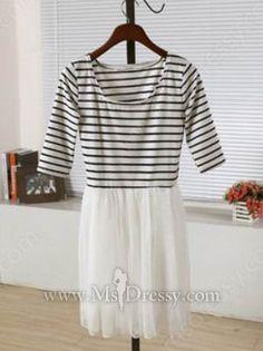 White Round Neck Half Sleeve Striped Pleated Mesh Yoke Dress