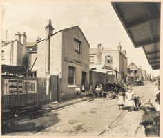 Hunt Street, during Cleansing Operations for the Bubonic Plague, Quarantine Area, Sydney, 1900 - When bubonic plague struck Sydney in 1900, George McCredie was appointed by the Government to take charge of all quarantine activities in the Sydney area, beginning work on March 23, 1900. At the time of his appointment, McCredie was an architect and consulting engineer with offices in the Mutual Life of New York Building in Martin Place.