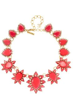 OSCAR DE LA RENTA Gold-plated, crystal and resin necklace
