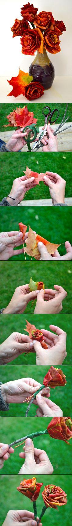 Aus Baumblättern gefaltete Rosen.! Fantastisch