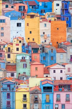 ~ Sardinian Cubism ~ by Henrik Spranz / Colourful Buildings, Beautiful Buildings, Beautiful Landscapes, Beautiful Places, City Aesthetic, Travel Aesthetic, Oh The Places You'll Go, Places To Travel, Photo Instagram