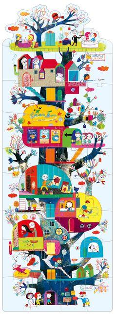 "© Muriel Kerba - Djeco / Puzzle ""Chloroville"" #puzzle #childrenillustration #illustrations"