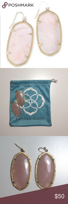 Kendra Scott Rose Quartz Danielle Earrings Blush pink stones encased in a 14K gold frame are perfect for any special occasion from a brunch with friends to an evening wedding. These classic Danielle Earrings are the perfect accessory year round! These are in like new condition and come with KS dust bag. Kendra Scott Jewelry Earrings