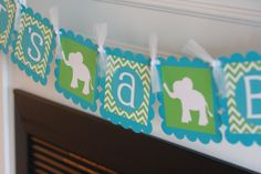 """Baby Shower """"Its a Boy"""" Elephant Jungle Zoo Animal Green Turquoise Blue Chevron Banner - Toppers, Favor Tags & Door Sign Available on Etsy, $27.00"""