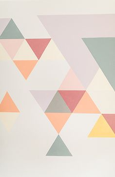 We had a difficult time determining what to do with this blank space at home. So, we teamed up with Behr to create an awesome DIY geometric wall mural! Geometric Wall Paint, Geometric Wallpaper, Wall Painting Decor, Diy Wall Art, Wall Paint Patterns, Bedroom Wall Colors, Bedroom Sets, Triangle Wall, Wall Drawing