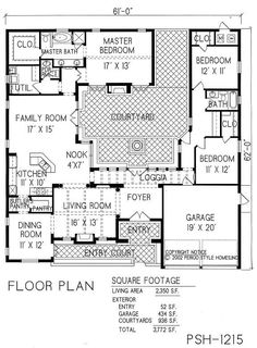 Projects Ideas 1 Story House Plans With Courtyard Center