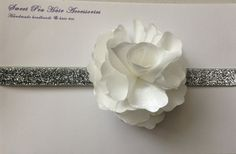 White silk flower glitter headband by SweetPeaHairAcc on Etsy, $10.00