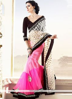 Stunning Pink And Cream Net Half And Half Saree
