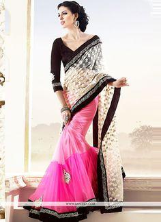 Stunning Pink And Cream Net Half And Half Saree