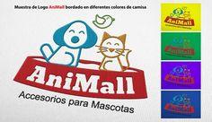 Muestra de Logo AniMall - Accesorios para mascotas en diferentes colores de camisa. LGALLP 2016.