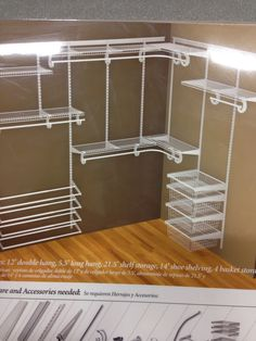 Closetmaid white wire closet for master closet and the kids closet  Kid: shoe rack and drawers