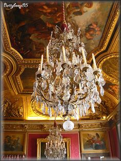 Chateau Versailles, Grand Hotel, Beautiful Interiors, Old World, Baroque, Interior Architecture, Hanging Lamps, Ceiling Lights, France
