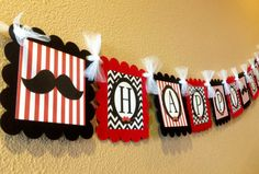 Mustache Bash Happy Birthday Banner  Red by EmeraldCityPaperie, $26.00