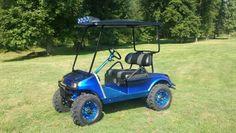Custom Blue Chrome Club Car Golf Cart FOR SALE!  #clubcar #oilcity #golfcart #easydoesitcustoms #bluechrome