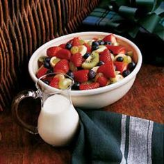 Fresh Fruit Salad - 4 WW+ for 8 servings or 3 WW+ for 10 servings. For sauce I use Activia Light Vanilla yogurt to get the low points. Excellent !!!