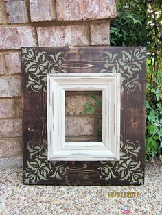 5x7 Distressed Damask Picture Frame Mudslide / by ShirleyFrames