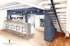 Home Decorating Websites Stores Key: 4216756925 Interior Architecture Drawing, Interior Design Renderings, Drawing Interior, Interior Design Portfolios, Interior Rendering, Interior Sketch, Architecture Plan, Kitchen Layout Plans, Design Studio Office