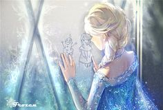 Frozen - fan art - Elsa draws Olaf and Anna in the frost on the window.