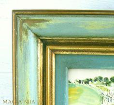 Aqua Teal Chalk Painted Frame