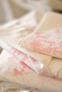 Linen in pink and white Linen Fabric, Linen Bedding, Bed Linen, Pink Palace, Pink Peonies, Peony, Complimentary Colors, White Butterfly, Bed Duvet Covers