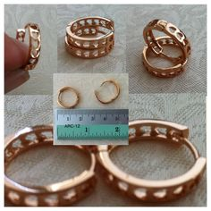 9K Rose Gold-filled hoop earrings with heart shaped cut-outs - AUD $10.00 + postage.