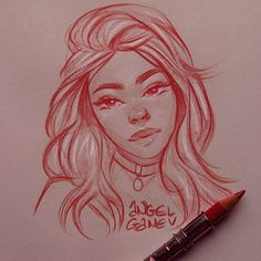 Quick 1 hour sketch with red pencil The hair was so messy to draw . Btw some people said in the comments that 1 hour is not consider 'quick' but I'm so slow that for me anything less than 5 hours is fast asff How much time do you spend on your work? Sad Drawings, Girl Drawing Sketches, Cool Art Drawings, Pencil Art Drawings, Cartoon Drawings, Drawing Tips, Sketch Inspiration, Drawing People, Cute Drawings Of People