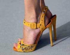 LOVE THESE...Giuseppe Zanotti yellow ankle-strap embellished peep-toes