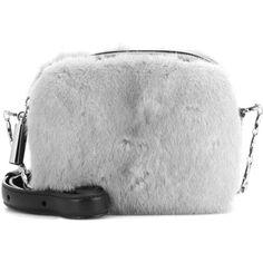 Christopher Kane Box Fur-Embellished Leather Crossbody Bag (23.575.185 IDR) ❤ liked on Polyvore featuring bags, handbags, shoulder bags, grey, cross-body handbag, leather crossbody purses, grey shoulder bag, leather crossbody handbags and crossbody shoulder bags