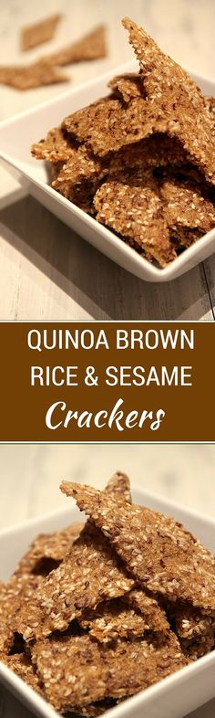 These easy to make Quinoa Brown Rice Sesame Crackers are packed with nutrients - brown rice, quinoa, sesame seeds and flax! A great way to save money while sticking to your healthy eating plans. Healthy Eating Recipes, Vegan Snacks, Healthy Snacks, Dehydrator Recipes, Food Processor Recipes, How To Cook Quinoa, Brown Rice, Eating Plans, Favorite Recipes