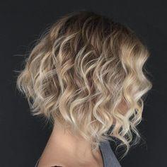 Wavy A-Line Brown Blonde Bob