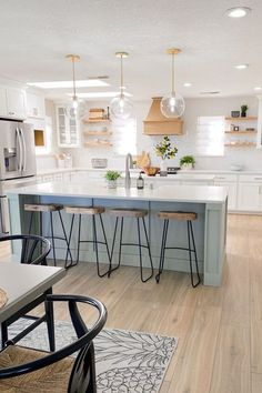 Green Kitchen Island, Double Island Kitchen, Sage Kitchen, New Kitchen, Kitchen Islands, Kitchen Island Decor, Sink On Island, Kitchen With Island Bench, How To Decorate Kitchen Island