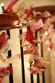vintage pretty: {DIY} Christmas Fabric Garland - use scraps of fabric tied to string of light. Clever and beautiful. Diy Christmas Garland, Christmas Fabric, Christmas Holidays, Christmas Crafts, Christmas Decorations, Christmas Ideas, Christmas Lights, Christmas Stuff, Merry Christmas